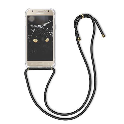 kwmobile Hülle kompatibel mit Samsung Galaxy J3 (2017) DUOS - mit Kordel zum Umhängen - Silikon Handy Schutzhülle Transparent Schwarz