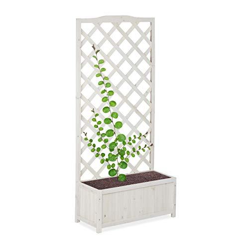 relaxdays, blanc Jardinière treillis espalier Tuteur plantes grimpantes bac à fleurs bois vigne rose 35 L, 150 cm, XL