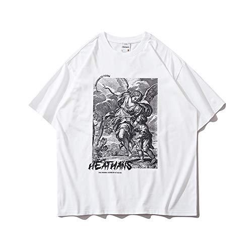 DREAMING-Camiseta de Manga Corta para Hombres y Mujeres, Camiseta de algodón con Cuello Redondo y Estampado Suelto, Camiseta de Pareja Superior, Pantalones de Verano M