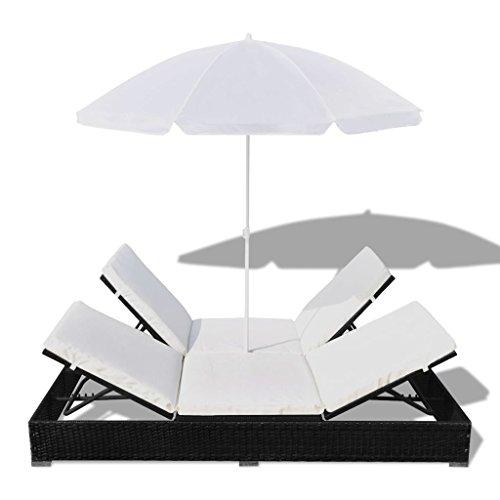 Ksodgun Tumbona Cama con sombrilla con Techo Parasol y sofá Cama ratán sintético Cama de Jardín marrón