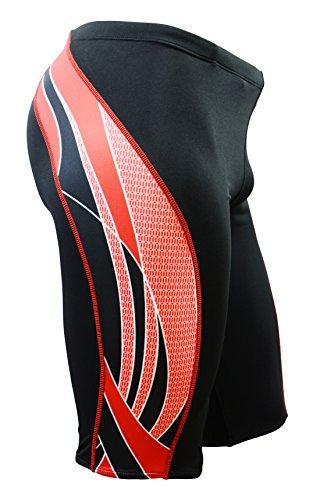 Adoretex Boy s Men s Side Wings Swim Jammer Swimsuit (MJ009) - Black Red - 28