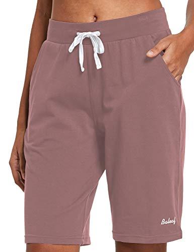 BALEAF Women's 10' Long Shorts Cotton Lounge Yoga Bermuda Walking Pajama Activewear Jersey Shorts Pockets Pink M