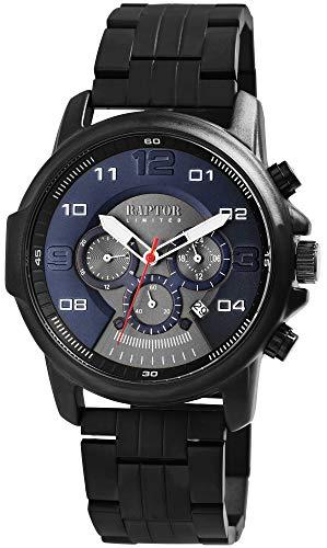 Raptor Limited Herren-Uhr Edelstahl Chronograph Leuchtzeiger Analog Quarz RA20280 (schwarz/dunkelblau)