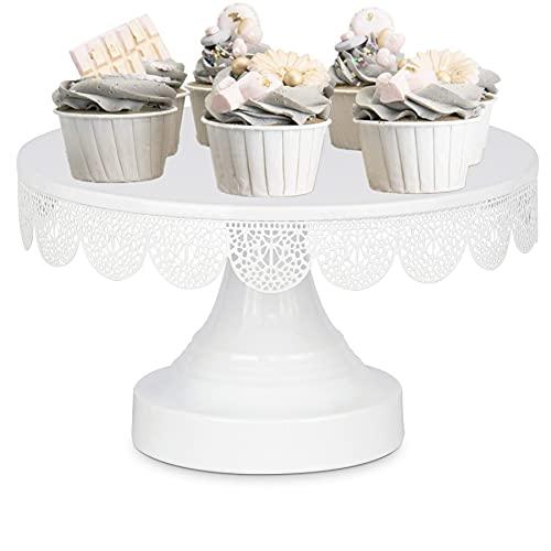 Tortenplatte weiß mit Fuß, Kuchen Stand Vintage, Kuchenplatte für Torten Cupcakes Dessert, Servierplatte mit Fuß Metall für Hochzeitsfeier Geburtstagsparty, Ø 25cm H14cm