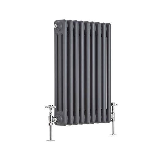 Milano Hudson Reed Regent Radiador de Diseño Horizontal en Estilo de Hierro Fundido - Radiador con Acabado Antracita - Columnas 2 x 9-658W - 600 x 425 x 100mm - Calefacción de Lujo