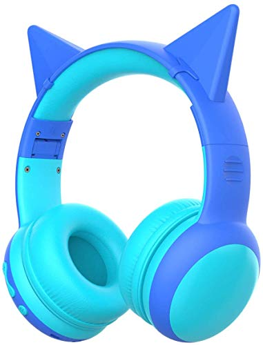 gorsun Bluetooth Kids Headphones with 85dB Limited Volume, Childrens Wireless Bluetooth Headphones, Foldable Bluetooth Stereo Over-Ear Kids headsets - Blue