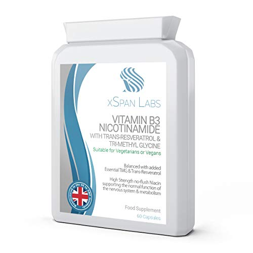 Vitamin B3 Nicotinamide with Trans-Resveratrol & Tri-Methyl Glycine (TMG) - High Strength no Flush Niacin - Supporting The Normal Function of The Nervous System & Metabolism