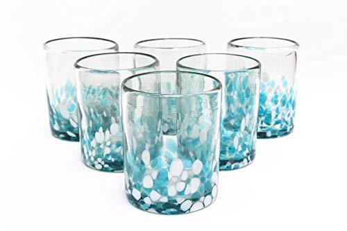 Mexikanische Trinkgläser aus geblasenem Glas, Konfetti, bunt, recyceltes Glas, mehrfarbig, Acqua und Weiß, mundgeblasen, 284 ml