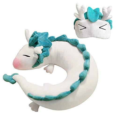 Dragon Neck Pillow Anime Cute U-Shaped Pillow with Eye Mask - Soft Small White Dragon Cartoon Anime Neck Pillow Plush Toy Haku Dragon Stuffed Huggable Plush Doll