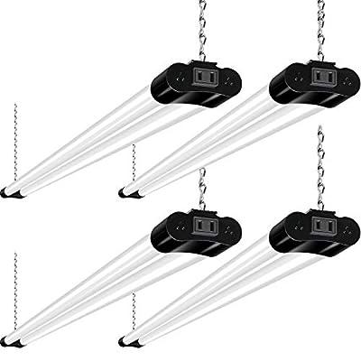 Hykolity Linkable LED Shop Light for Garage, 4FT 36W Utility Light Fixture for Workshop Basement, 5000K Daylight LED Workbench Light with Plug[250W Equivalent] Hanging or Surface Mount, Black-4 Pack