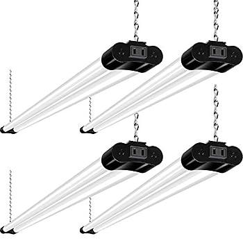 Hykolity Linkable LED Shop Light for Garage 4400lm 4FT 42W Utility Light Fixture 5000K Daylight LED Workbench Light with Plug [250W Equivalent] Hanging or Surface Mount Black - 4 Pack ETL