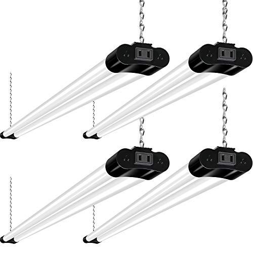 Hykolity Linkable LED Shop Light for Garage, 4400lm, 4FT 42W Utility Light Fixture, 5000K Daylight LED Workbench Light with Plug [250W Equivalent] Hanging or Surface Mount, Black - 4 Pack ETL