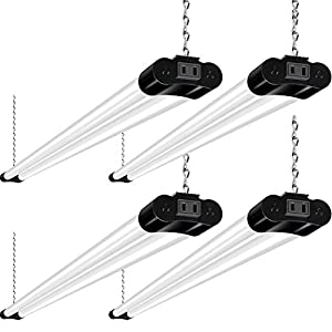 hykolity Linkable LED Shop Light for Garage, 4400lm, 4FT 42W Utility Light Fixture, 5000K Daylight LED Workbench Light W/ Plug [250W Equivalent]hanging or Surface Mount, Black - 4 Pack ETL
