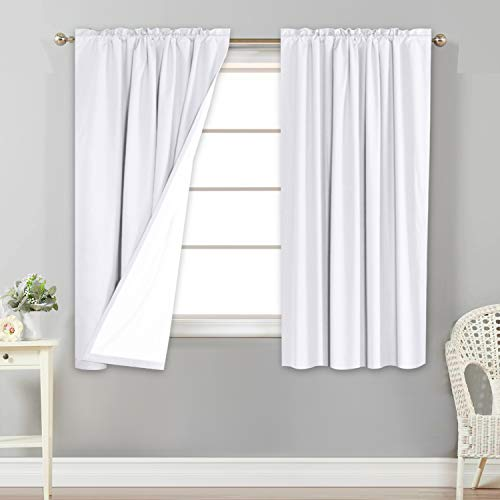 Flamingo P 100% Blackout Curtains Window Treatment Curtain with White Backing Thermal Insulated Rod Pocket Curtains for Bedroom 2 Tie-Backs (2 Panels 52 x 63 Inch, White)