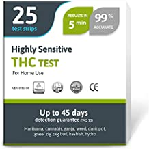 Highly Sensitive Marijuana THC Test Kit - Medically Approved Drug Test Strips for Detecting Any Form of THC in Urine up to 45 Days in 5 Minutes Only