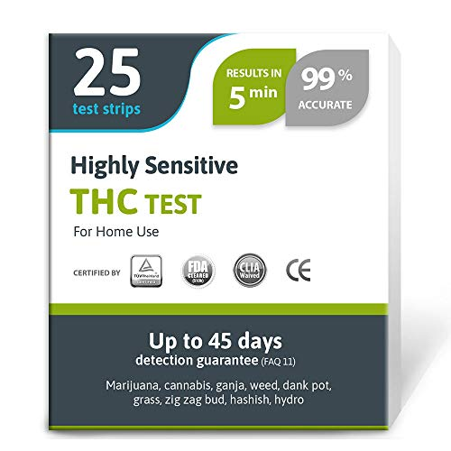 Review Highly Sensitive Marijuana THC Test Kit - Medically Approved Drug Test Strips for Detecting A...