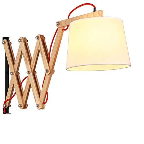 Wandlampen Innen Holz Wandlampe mit Schalter und 3,5m Netzkabel Vintage Scherenlampe Ausziehbar Nachttischlampe Flexible Leselampe Wandleuchte Schlafzimmer Bettlampe E27 Handgearbeitet Stoff Schirm