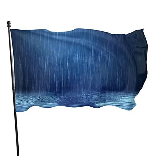 Bandiera della moda 3 x 5 piedi Rain Water Drop Flag Ft Falling Dark Surface Vivid Color Banner Sign For Yard Advertising Outdoor Indoor Hanging Decor Blue Black White