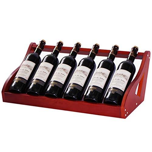 Weinregale Holz, Freistehend Wein-Halter Tischweine Ausstellungsstand for Bar Keller Pantry Küche Lagerschrank Dekoration Bis Zu 6 Flaschen-Entwurf (Color : Red)