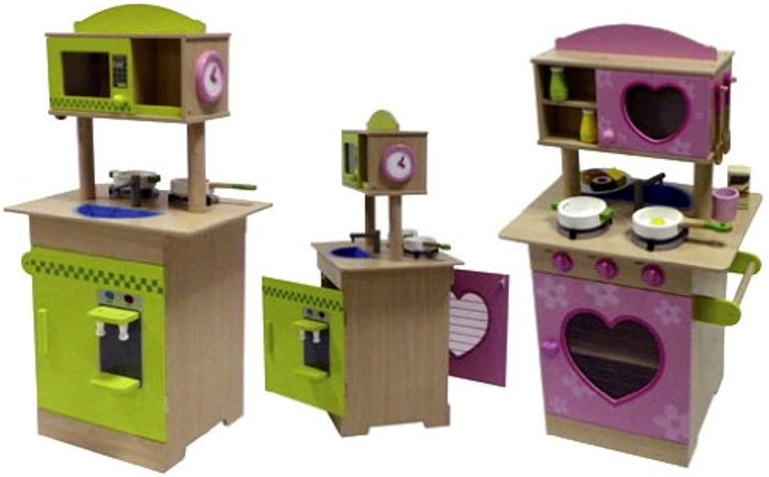 Siva Toys 261838 Siva ''Kitchen Wood Pink Green with Accessories '', Multi Colour