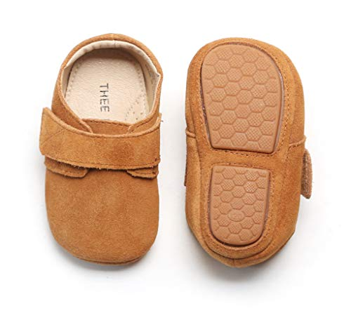 HONGTEYA Baby Girls Boys Christmas Reindeer Genuine Leather Shoes Soft Sole Bow Infant Crib First Walker Moccasins (6-12 Months/US 6/5.12'' / See Size Chart, White)
