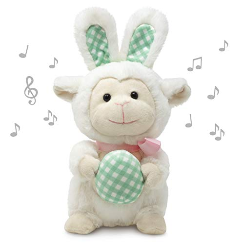 Cuddle Barn | Leapin' Lucy 11' Lamb Animated Stuffed Animal Plush Toy | Lamb Disguised as Bunny Rabbit Holdiing Easter Egg | Dances to Peter Cottontail