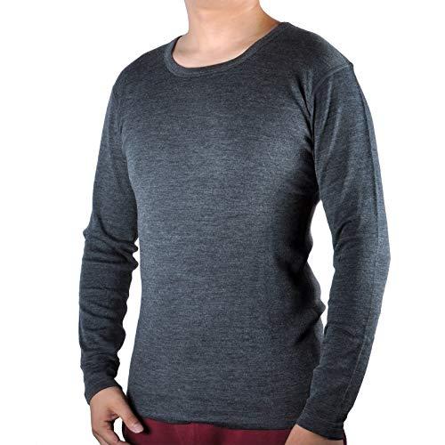 SHEEP RUN 100% Merino Wool Men's Midweight Base Layer Thermal Underwear Tops Long Sleeve Crew (L, Charcoal Gray)