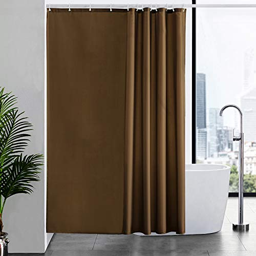 Furlinic Duschvorhang 180x200cm Vorhang für Badewanne und Dusche in Badezimmer Textile Vorhänge aus Stoff Wasserdicht Anti-schimmel Waschbar mit 12 Duschvorhangringe Braun.