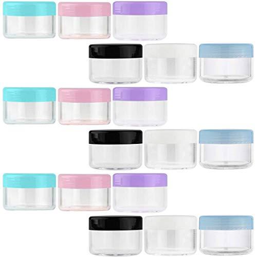 BSTHP Tarros de plástico para cosméticos, 18 unidades, vacíos, rellenables, de plástico transparente, 6 colores