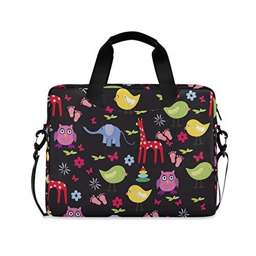 OOWOW - Bolsa para portátil para mujer y hombre, diseño de jirafa, elefante, búho, ligero, maletín para ordenador portátil de 14 15,6 16 pulgadas