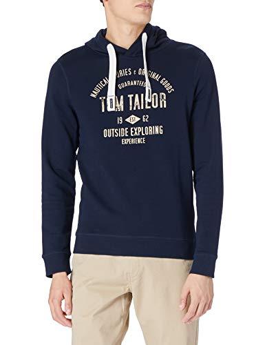 TOM TAILOR Herren 1020918 Print Hoodie Sweatshirt, Dark Blue, XL