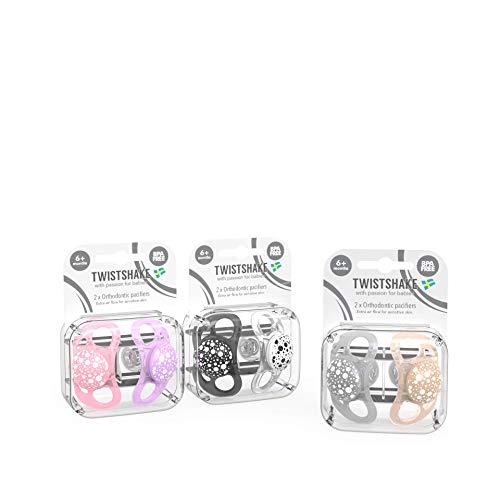Twistshake Pacifier 6+m Bundle for Girls with 2PK- Black/White, 2PK-Pastel Pink/Pastel Purple, 2PK-Pastel Grey/Pastel Beige