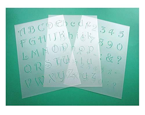 3er Schablonen Set 0034 Schnörkel- Buchstaben groß, klein und Zahlen