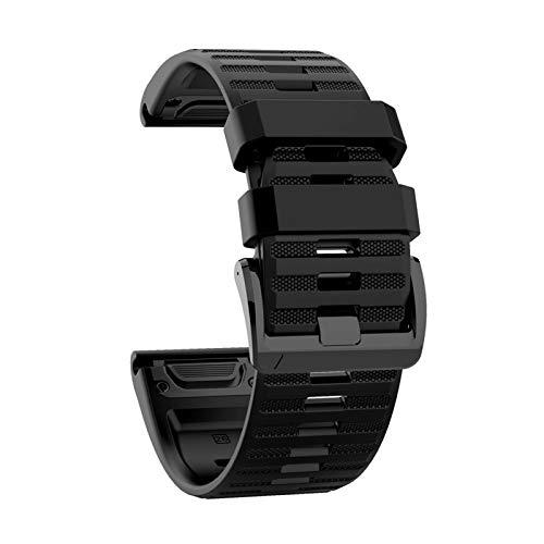 Correa de silicona de repuesto para Fenix6X / fenix5X / fenix3 HR / D2 QuickFit Correa de reloj de silicona suave de 26 mm de ancho, pulsera de reloj deportivo ajustable 2021 (black)