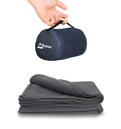 Litume Travel Blanket Lightweight and Breathable, 68 x 48 Soft Airplane Blanket for Travelers, Foldable Camping Sheet with Stuff Sack for Train, Camp, Traveling (E651)