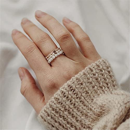 KEJI Anillo de piedra natural hecho a mano con cuentas de acero inoxidable multicolor elástico cuerda regalos anillo ajustable