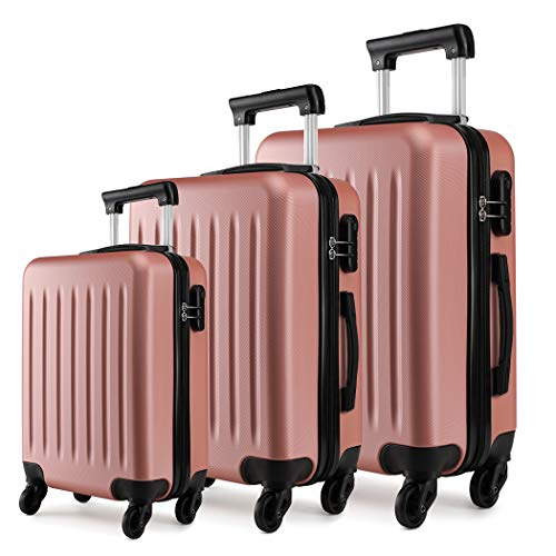 Kono Luggage Sets of 3pcs Lightweight ABS Hard Shell Trolley Travel Case with 4 Wheeled Spinner 19' 24' 28' (Nude Set)