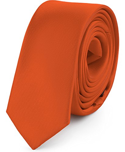 Ladeheid Corbatas Estrechas Diversidad de Colores Accesorios Ropa Hombre SP-5 (150cm x 5cm, Naranja Oscuro)