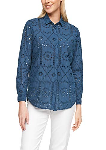 s.Oliver Damen Lockere Bluse mit Lochstickerei faded blue 44