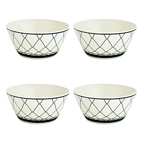 4 Cuencos de bambú con diseño líneas negras - 550 ml de volumen - 15 x 7 cm Ø - Vajilla de bambú Cuenco de Cereales Tazones desayuno Cuenco de Madera Cuenco de ensalada Cuenco sopa