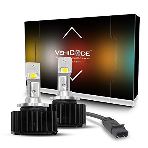 VehiCode D1S D1R LED Headlight Conversion Kit - 70W 6000K White and Compatible with Ballast of D1S D1R D1C Xenon HID Headlight Bulb - CanBus Error Free Replacement (2 Pack)