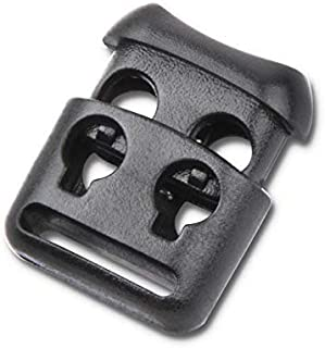Double Hole Plastic Cord Locks End Spring Stop Toggle Stoppers Multi-Colour (10PCS, Black)