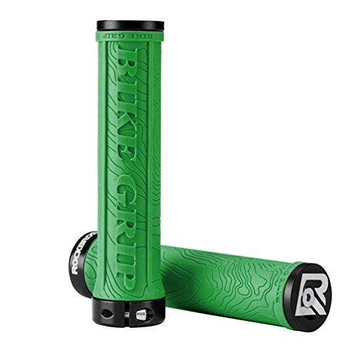 ROCKBROS Manopole per Manubrio di Bici 22mm in Gomma Antiscivolo con Anelli di Bloccaggio in Alluminio e Tappi Ultra-Leggere per Bici/MTB/Bici Pieghevole (Verde)