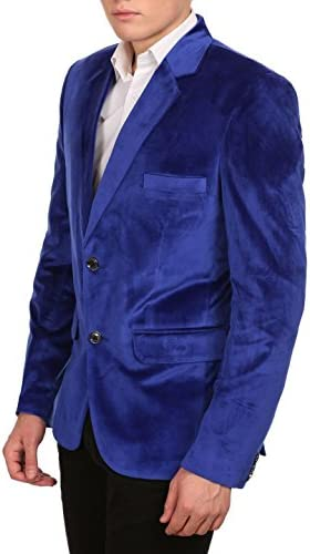 Royal blue velvet blazer mens _image3