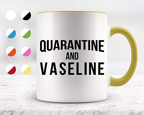 Taza de cerámica para café y té de 325 ml con cuarentena y vaselina, divertida taza de regalo para amigos o compañeros de trabajo o regalo de cumpleaños