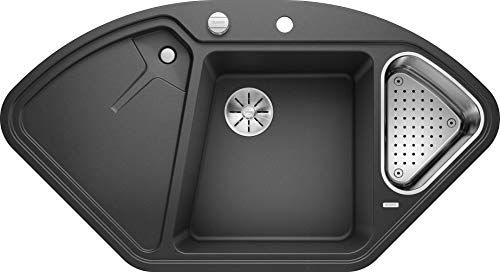 Blanco Delta II, Eckspüle, Küchenspüle aus Silgranit PuraDur, Anthrazit-schwarz/mit InFino-Ablaufsystem, inklusive Edelstahlschale und Ablauffernbedienung; 523656