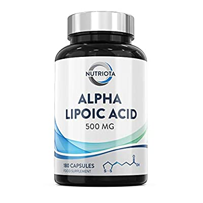 Alpha Lipoic Acid (ALA) 500 mg   180 High-strength Vegan Capsules   Helps Reduce Inflammation, Control Maintenance of Normal Blood Sugar Levels and Nervous System Health