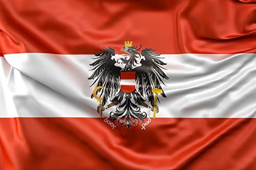 KiipFlag Österreich Flagge mit Adler – Österreich Flagge - Lebendige Farbe – Austria Flag - UV-beständig – Leinwand Header – doppelt genäht – Polyester Österreich Nationalflagge 90 x 150 cm