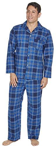 Herren gebürstet Pure 100% Baumwollschlafanzug Winter warme Flanell Thermo M L XL XXL Blau Kariert, XXL