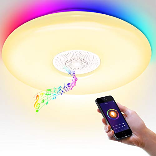 Lámpara de techo con altavoz Bluetooth, WiFi, mando a distancia, control por voz, salón, lámpara de techo de 36 W LED Rhythmus con sincronización de música, dormitorio, lámpara de techo regulable